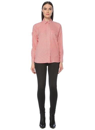 NetWork Kadın 1077635 Basic Fit Çizgili Gömlek Kırmızı
